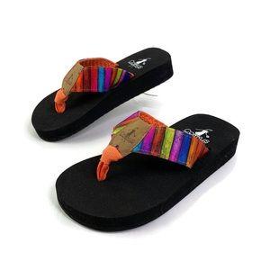 Corkys Kids Camet Striped Flip Flop Sandal New 10